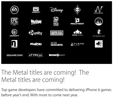 The Metal titles are coming!  The Metal titles are coming! Top game developers have committed to delivering iPhone 6 games before year's end. With more to come next year.