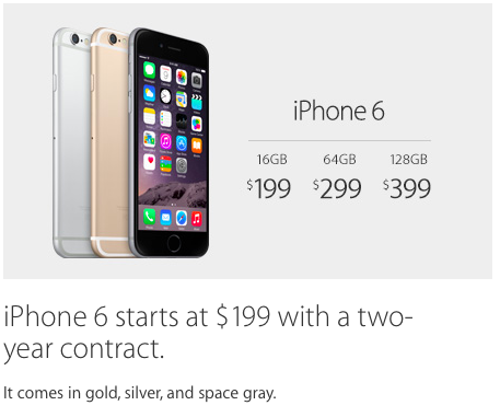 iPhone 6 starts at $199 with a two-year contract. It comes in gold, silver, and space gray.