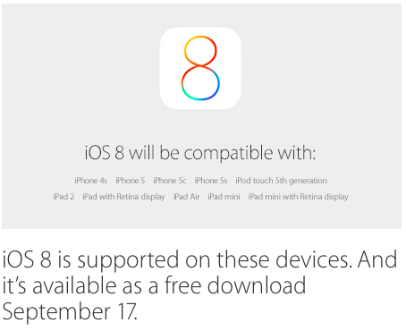 iOS 8 is supported on these devices. And it's available as a free download September 17.